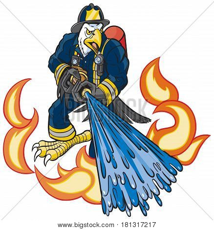 Vector cartoon clip art illustration of a tough mean bald eagle firefighter mascot in uniform spraying water on fire or flames with a hose.