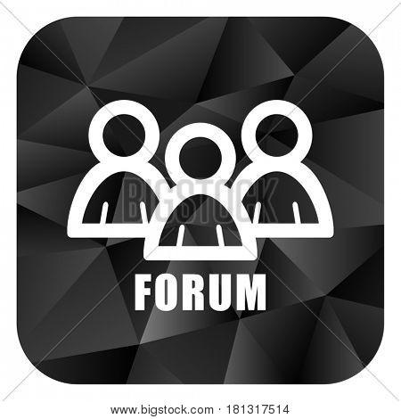 Forum black color web modern brillant design square internet icon on white background.