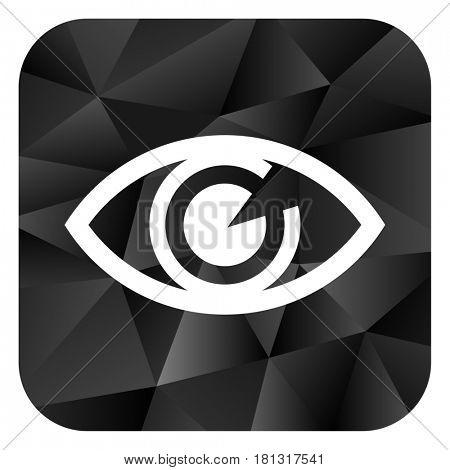 Eye black color web modern brillant design square internet icon on white background.
