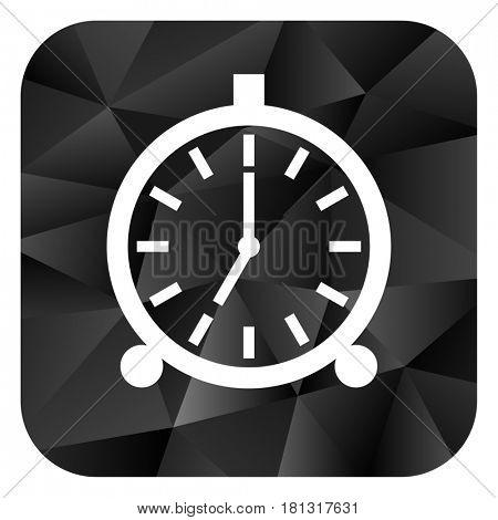 Alarm black color web modern brillant design square internet icon on white background.