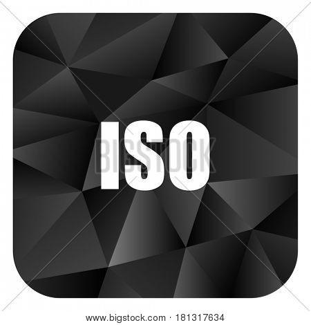 ISO black color web modern brillant design square internet icon on white background.