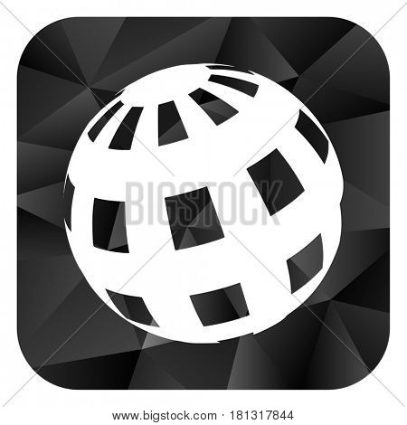Earth black color web modern brillant design square internet icon on white background.