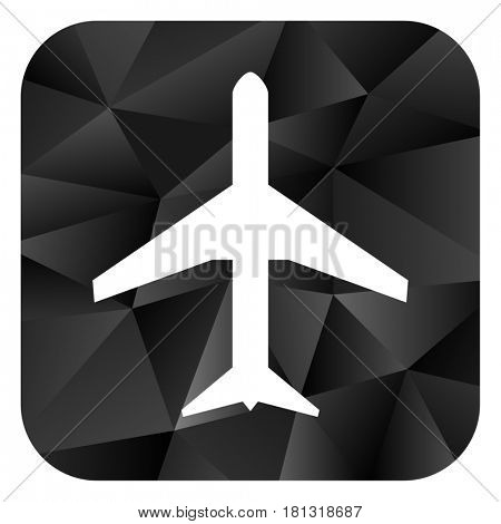 Plane black color web modern brillant design square internet icon on white background.