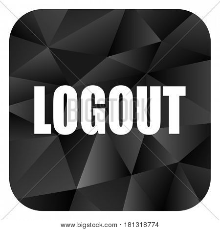 Logout black color web modern brillant design square internet icon on white background.