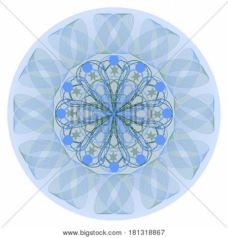 Blue mandala for calming meditation oriental traditional patterns composed in circle