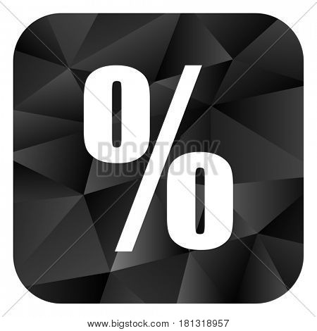 Percent black color web modern brillant design square internet icon on white background.