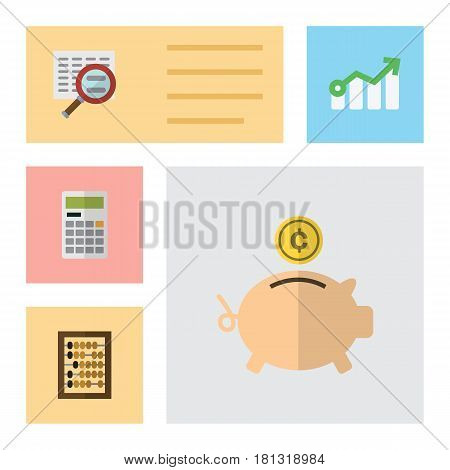 Flat Gain Set Of Growth, Calculate, Scan And Other Vector Objects. Also Includes Calculator, Diagram, Abacus Elements.