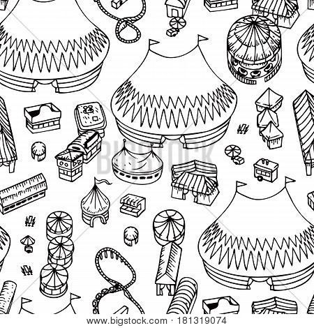 Summer Fair Seamless Pattern in Line Art Style. Coloring Book
