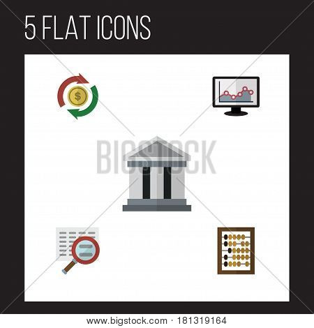 Flat Exchequer Set Of Bank, Interchange, Counter And Other Vector Objects. Also Includes Building, Counter, Exchange Elements.