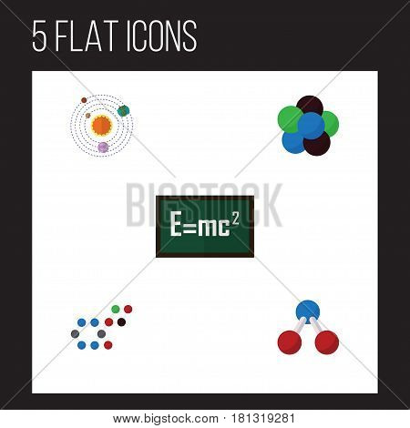Flat Science Set Of Milky Way, Proton, Molecule And Other Vector Objects. Also Includes Theory, Formula, Water Elements.