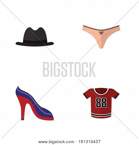 Flat Clothes Set Of T-Shirt, Panama, Heeled Shoe And Other Vector Objects. Also Includes Hat, Fedora, Heeled Elements.
