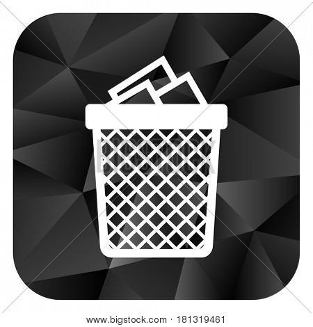 Trash can black color web modern brillant design square internet icon on white background.
