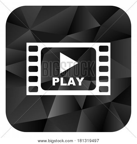 Play video black color web modern brillant design square internet icon on white background.