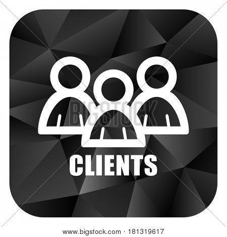 Clients black color web modern brillant design square internet icon on white background.