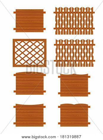 Set of wooden fences sections of different forms isolated on white background. Collection of elements for logos, pictures, print products, page, web and game design. Vector illustration.