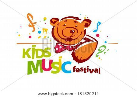 Colorful kids music festival logo. Teddy bear notes treble clef bass clef colorful lettrring. Logotype