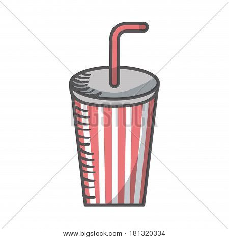 soda glass with straw icon vector illustration design