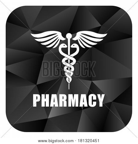 Pharmacy black color web modern brillant design square internet icon on white background.