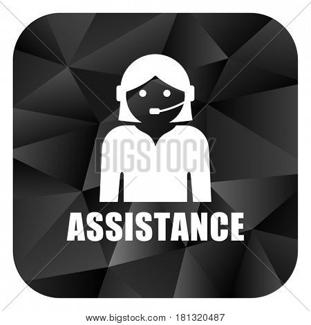 Assistance black color web modern brillant design square internet icon on white background.