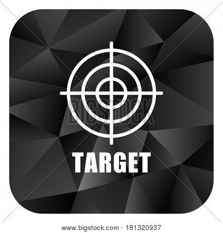 Target black color web modern brillant design square internet icon on white background.