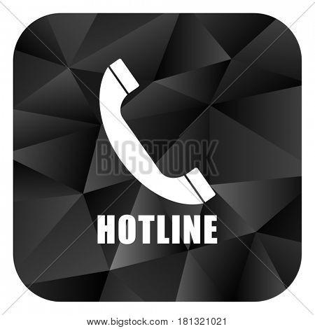 Hotline black color web modern brillant design square internet icon on white background.