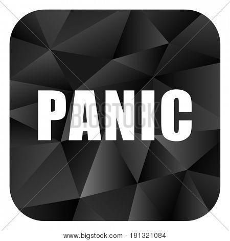 Panic black color web modern brillant design square internet icon on white background.