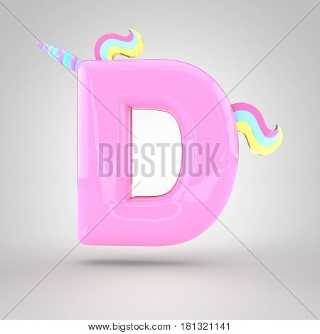 Cute Unicorn Pink Letter D Uppercase