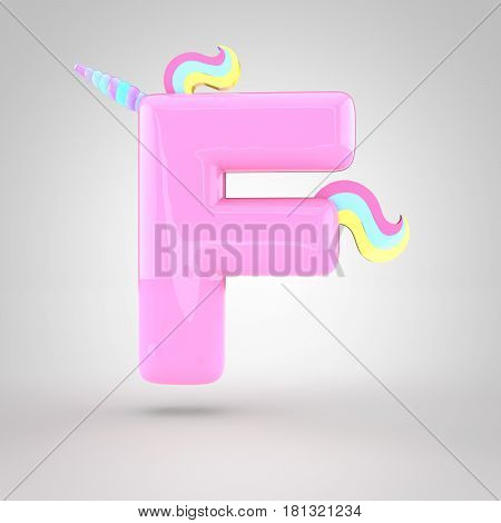 Cute Unicorn Pink Letter F Uppercase