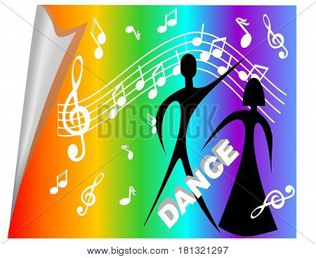 Disco billboard with man and woman silhouette on rainbow background with music symbols