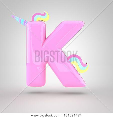 Cute Unicorn Pink Letter K Uppercase