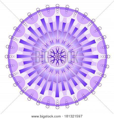 Purple mystery mandala traditional oriental circle ornament for meditation and spiritual training