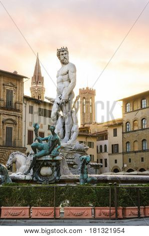Fountain of Neptune sunrise view, Florence, Italy