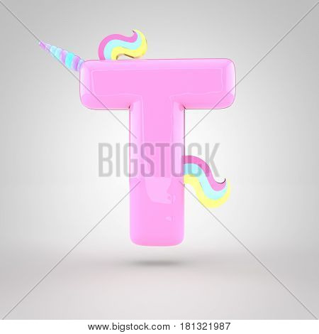 Cute Unicorn Pink Letter T Uppercase