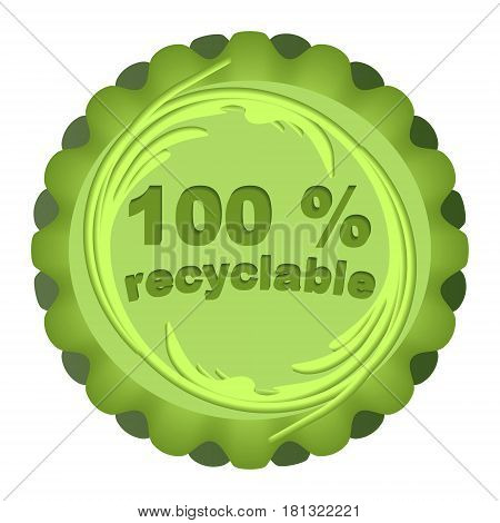 Label for recyclable and eco friendly products in green circle