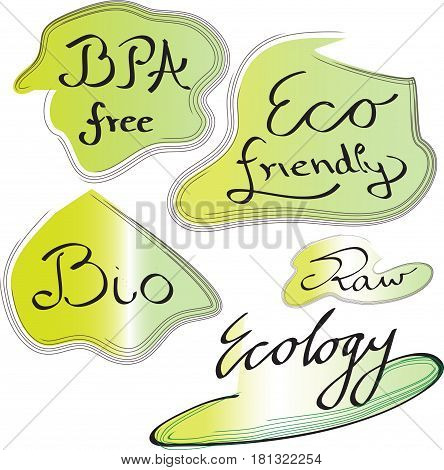Set of icons with text BPA free, eco friendly, bio, raw, ecology on the white background. Vector illustration for label,sticker, icon, badge.