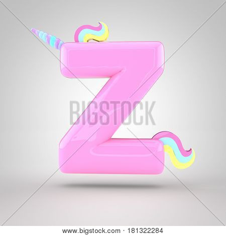 Cute Unicorn Pink Letter Z Uppercase