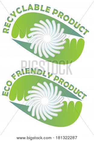 Label for recyclable and eco friendly products with green leafs and white star