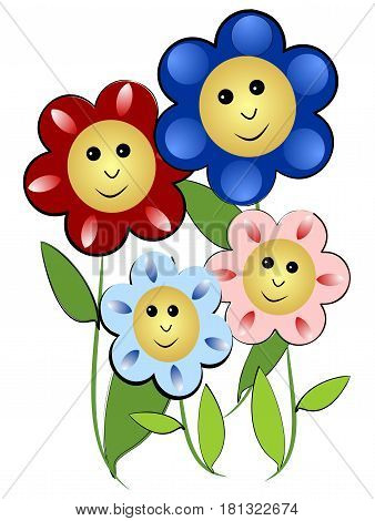 Cheerful flowers family - mother father and two children