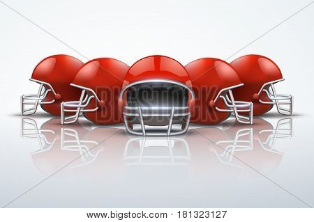 Sport Background with red american football helmets. Symbol of sporting equipment and team. Editable Vector Illustration.