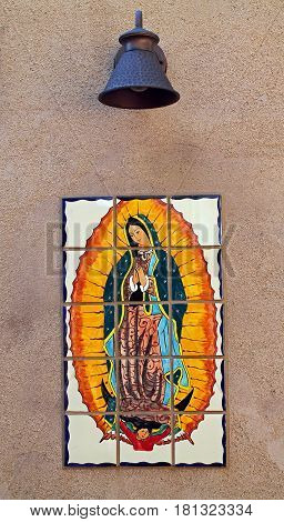 Colorful Tile of Mary Mother of God at a small Mexican chapel