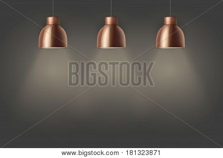 Vintage Brass stylish cone lamps on dark wall. Original Retro design. Hang ceiling model. Vector illustration Isolated on white background.
