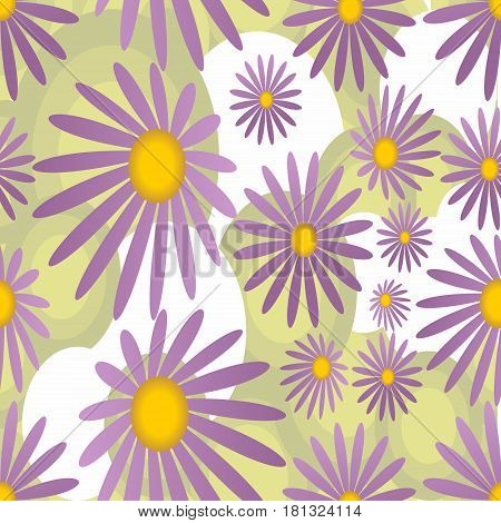 Seamless background with violet marguerite motif in soft colors
