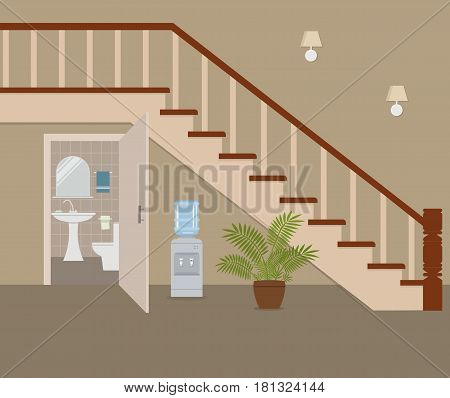 Water closet under the stairs. There is a wash basin, a toilet, a mirror and other objects in the picture. There is also a water cooler and a flower in the pot. Vector flat illustration.