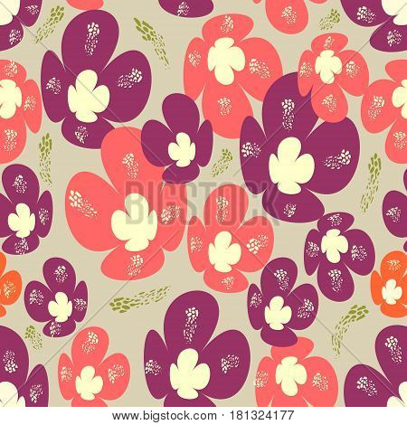 Seamless background with red and orange flowers in nostalgic design