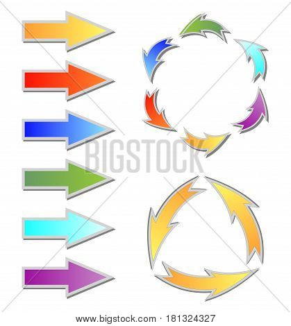 Set of colorful gradient arrows and circle cycle diagram for web design or presentation slide