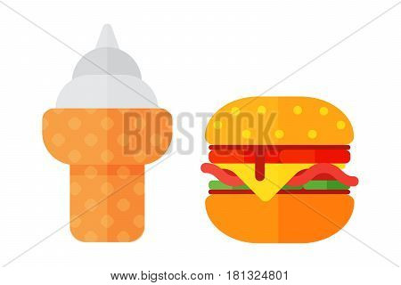 Colorful sandwich cartoon fast food icons isolated restaurant tasty american cheeseburger meat and unhealthy ice cream meal vector illustration. Junk drink snack barbecue dinner eating.