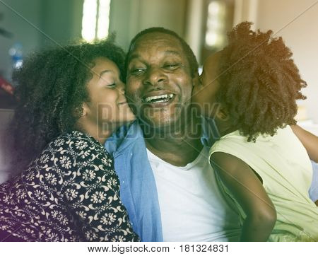 Photo Gradient Style with African Descent Family House Home Resting Living