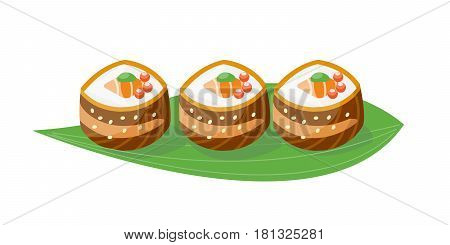 Sushi japanese cuisine traditional food flat healthy gourmet icon and oriental restaurant rice asia meal plate culture roll vector illustration. Fresh seafood diet dish delicious.