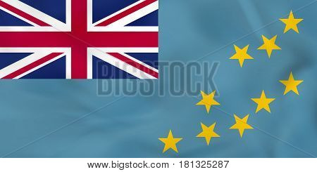 Tuvalu Waving Flag. Tuvalu National Flag Background Texture.