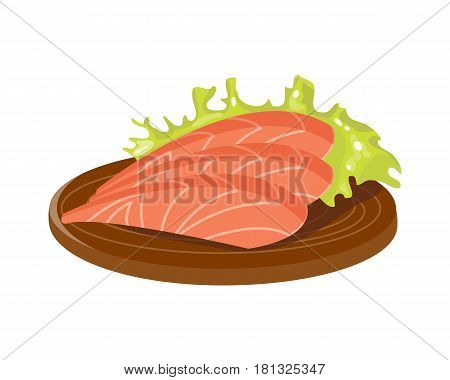 Salted red fish slice on wooden board fresh meat plate healthy fillet meal dinner vector and gourmet food diet ingredient portion prepared illustration. Seafood steak cuisine cooking.